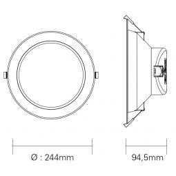 Downlight Ø240mm 24W 1680Lm...